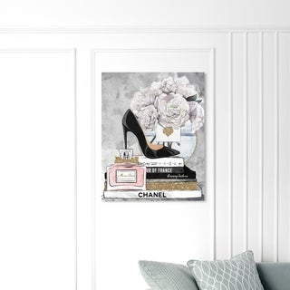 Oliver Gal Fashion and Glam Wall Art Canvas Prints 'Blooming Books from Paris' Books - Black, White