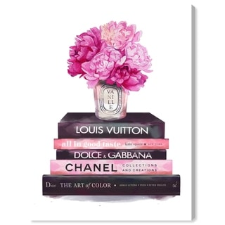 Oliver Gal Fashion and Glam Wall Art Canvas Prints 'Fashion Base Books' Books - Pink, Brown