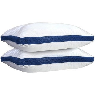 Set of 2 Bed Pillows/ Microfiber Pillows by Lux Decor Collection Navy Blue Gusseted