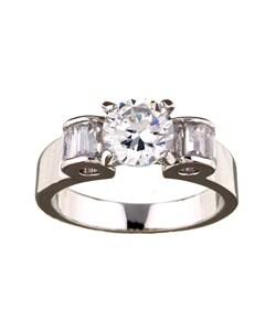 Simon Frank 14k White Gold Overlay Betrothal Ring