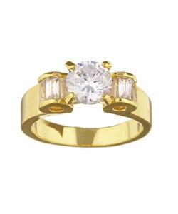 Simon Frank 14k Yellow Gold Overlay Betrothal Ring