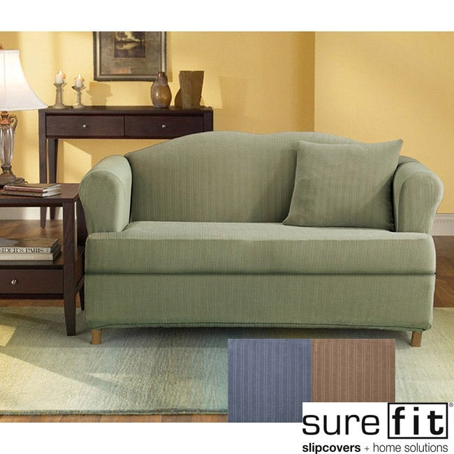 Stretch Stripe 2-piece T-cushion Sofa Slipcover