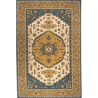 Hand-finished Teal Persian Garden Wool Rug (8' x 10')