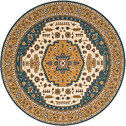 Hand-finished Teal Persian Garden Wool Rug (8' Round)