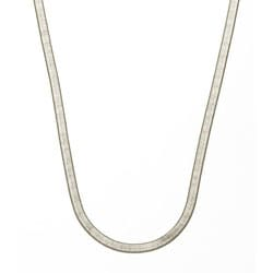 "Simon Frank 14k White Gold Overlay 5mm Herringbone Necklace (18-24"")"
