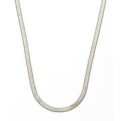 """Simon Frank 14k White Gold Overlay 5mm Herringbone Necklace (18-24"""")"""
