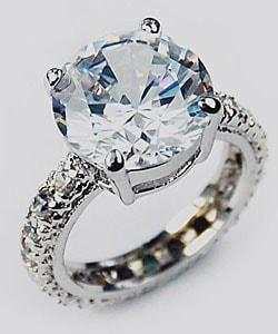Simon Frank 14k White Gold Overlay Super Solitaire Ring