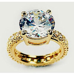 Simon Frank 14k Yellow Gold Overlay Round Super Solitaire Ring