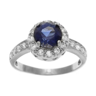 Simon Frank 2.51 Equivalent Diamond Weight14k White Gold Overlay Halo Set Ring