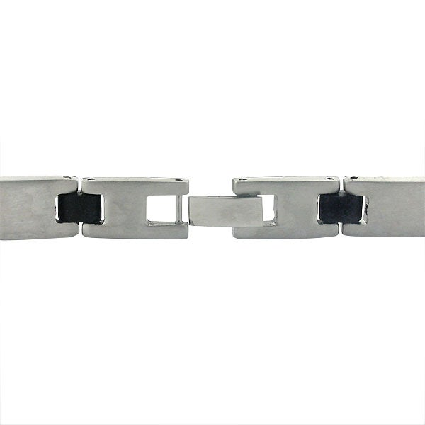 High-Polish Stainless-Steel Rubber-Hinge Link Bracelet