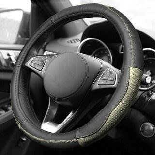 FH Group Sleek & Sporty Genuine Leather Steering Wheel Cover