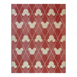 "Disney Mickey Mouse Argyle Red Grain (7'10""x10') Area Rug by Gertmenian"