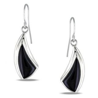 M by Miadora Sterling Silver Black Onyx Hook Earrings