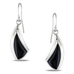 Sterling Silver Black Onyx Hook Earrings