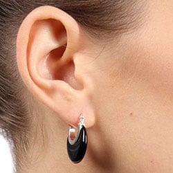 Miadora Sterling Silver Black Onyx Hoop Earrings