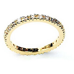 Simon Frank 14k Gold Overlay Clear Hand-cut Diamoness Eternity Band