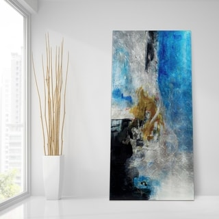 Interplay Abstract Wall Art Printed on Tempered Glass & Silver Leaf - Multi-Color