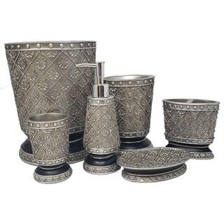 Silver Flower Bathroom Accessories Set, 6 Pcs Wooden Gift Set