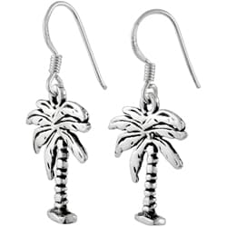 Tressa Sterling Silver Earrings with Dangling Palm Tree