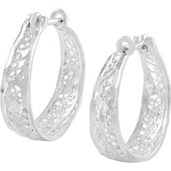 Tressa Sterling Silver Filigree Hoop Earrings