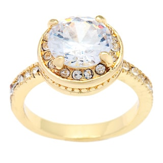 Simon Frank 14k Yellow Gold Overlay Diamoness Solitaire Ring