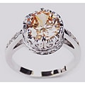 Simon Frank 14k White Gold Overlay CZ Crown Solitaire Ring