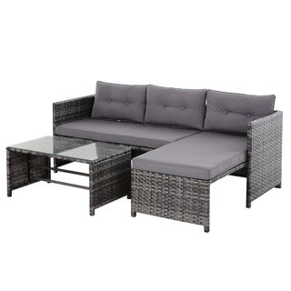 Outsunny 3-Piece Wicker Rattan Patio Set, Includes Sofa, Chaise & Coffee Table, Great for Poolside or Porch Lounging, Grey