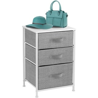 7 - Tier End Table Storage Unit Dresser with Metal Frame Wooden Tabletop for Dorm Room Closet Nursery - White