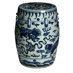 Handmade Lion Motif Chinese Porcelain Garden Stool (China)