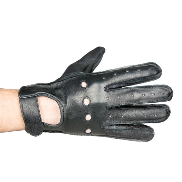 Vented Black Leather Motorcycle Gloves with Snap-style Closure 3686044