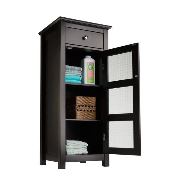 bathroom cabinet kitchen furniture glass doors espresso wood storage
