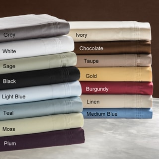 Simple Elegance Egyptian Cotton 650 Thread Count Solid Color Pillowcase Set