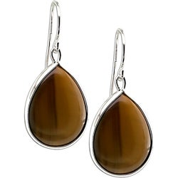 Miadora Sterling Silver Tiger's Eye Hook Earrings