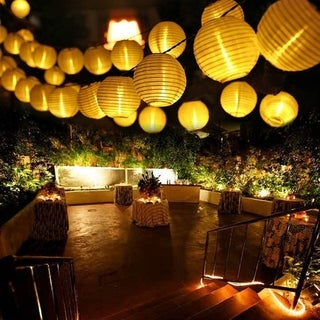 12.5ft Solar LED White String Lantern