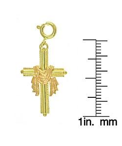 14k Yellow Gold Linen Cross Charm