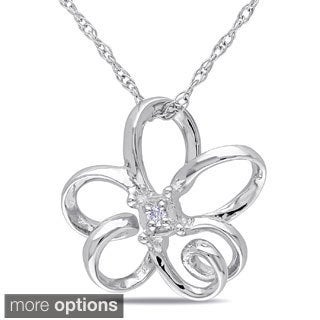 Miadora 10k Gold Diamond Accent Flower Necklace