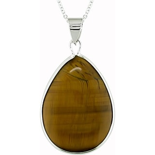 M by Miadora Sterling Silver Teardrop Tiger's Eye Necklace
