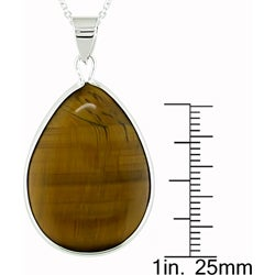 Sterling Silver Teardrop Tiger's Eye Necklace