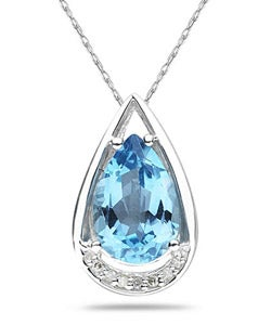 10k White Gold and Sterling Silver Blue Topaz and Diamond Necklace