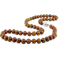 Miadora New York Pearls FW Off Round New York Pearls Brown Pearl Necklace (6.5-7 mm)