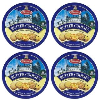 Bettino Butter Cookies - Traditional Danish Recipe with Keepsake Tin - 16 oz - 4 PACK
