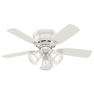 """Hunter 42"""" Low Profile Indoor Ceiling Fan with LED Light Kit and Pull Chain"""