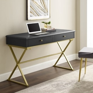 Silver Orchid Lerch Two-Drawer Campaign Desk