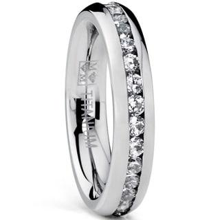 Oliveti Women's 4MM High Polish Ladies Eternity Titanium Ring Wedding Cubic Zirconia Sizes 4-9