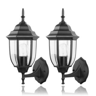 Die-cast Aluminum with Clear Glass 1 Light Outdoor Sconce 2-pack