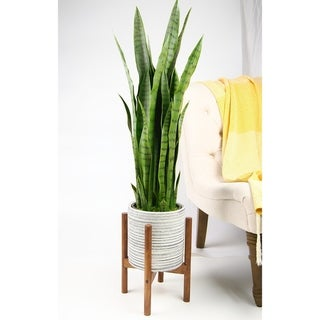 "UPshining Mid Century Ceramic Planter 8"" Gray with Wood Stand"