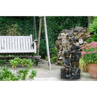 Children Fishing Garden Statue with Solar String Light