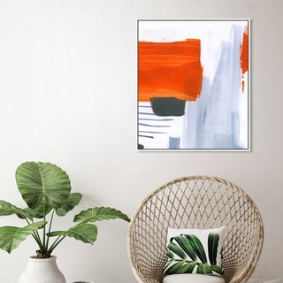 Oliver Gal Abstract Wall Art Framed Canvas Prints 'Muro' Paint - Red, Blue