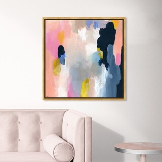 Oliver Gal Abstract Wall Art Framed Canvas Prints 'Happy Thoughts' Paint - Orange, Blue