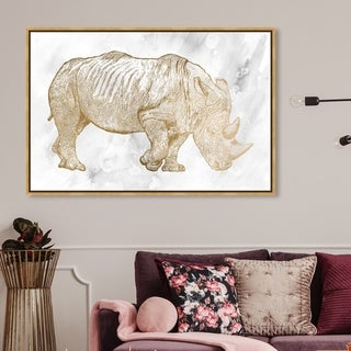 Oliver Gal Animals Wall Art Framed Canvas Prints 'Gold Rhino' Zoo and Wild Animals - Gold, Gray